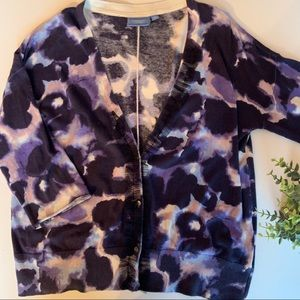 Vera Wand purple black & blue ruffled cardigan